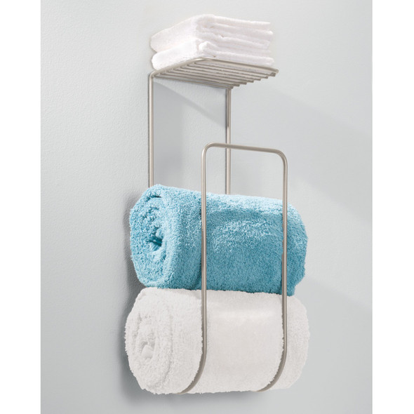 Wall Mount Bathroom Towel Holder Storage Rack with Shelf