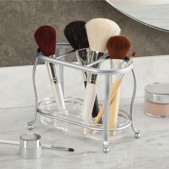 "3 Section Makeup Brush Holder + Countertop Organizer - 7"" x 4"" x 5.5"""
