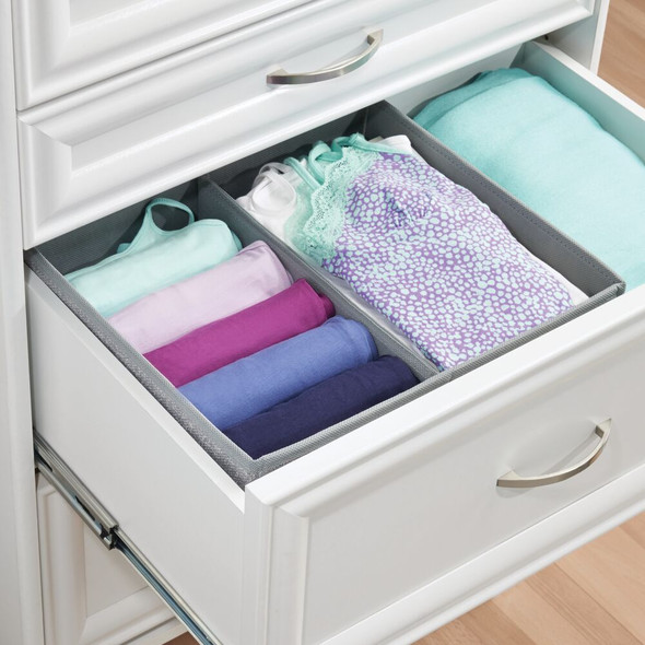 2 Section Fabric Divided Dresser Drawer Organizer