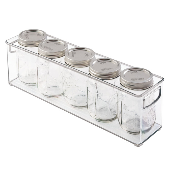 "Plastic Kitchen Pantry, Food Storage Organizer Bin - 16"" x 3.75"" x 5"""