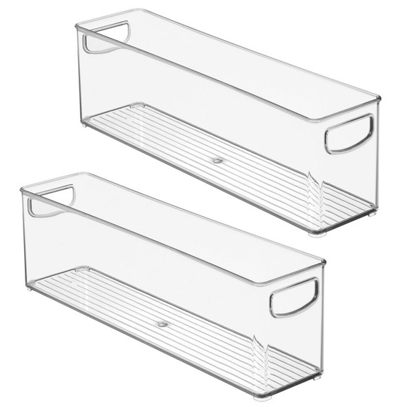 "Plastic Kitchen Pantry, Food Storage Organizer Bin - 16"" x 4"" x 5"""