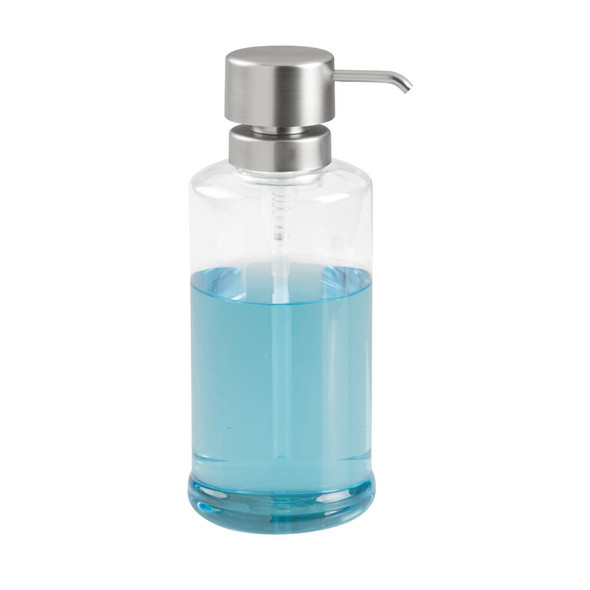 Extra Large Plastic Refillable Shampoo Soap Pump - Clear/Brushed