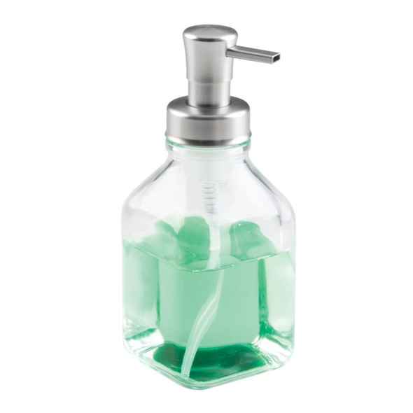 Square Glass Refillable Foaming Soap Dispenser with Pump