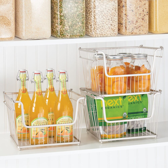 "Large Stacking Metal Kitchen Pantry Storage Basket - 10.7"" x 12.5"" x 8.5"""