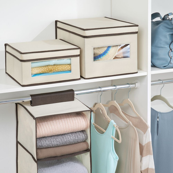 """Medium Fabric Closet Storage Box with Clear Front and Lid - 11.5"""" x 11.25"""" x 6"""""""