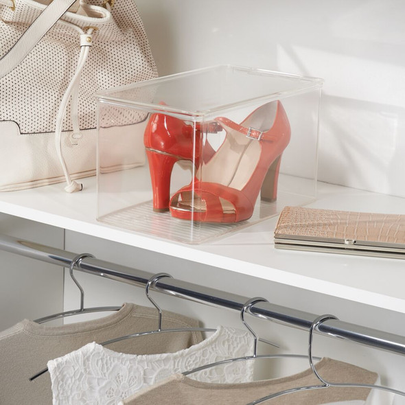 """Plastic Shoe Box with Lid for Closet - 12.75"""" x 7.25"""" x 7"""""""