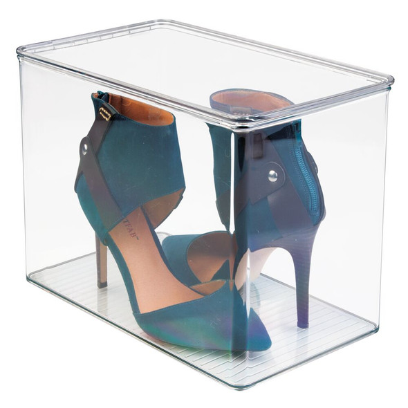 """Plastic Shoe Box with Lid for Closet - 12.75"""" x 7.25"""" x 9"""""""
