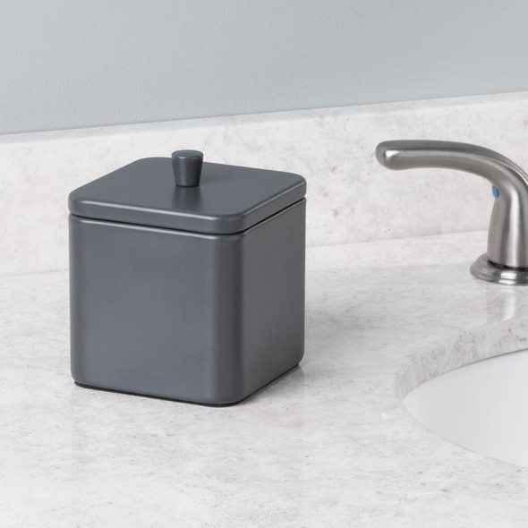 Square Metal Bathroom Vanity Storage Canister Jar