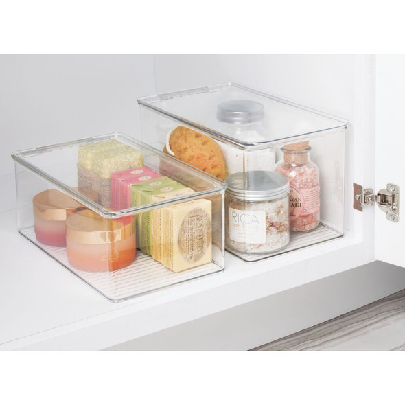 "Plastic Bathroom Vanity Storage Box - 12.75"" x 7.25"" x 7"""