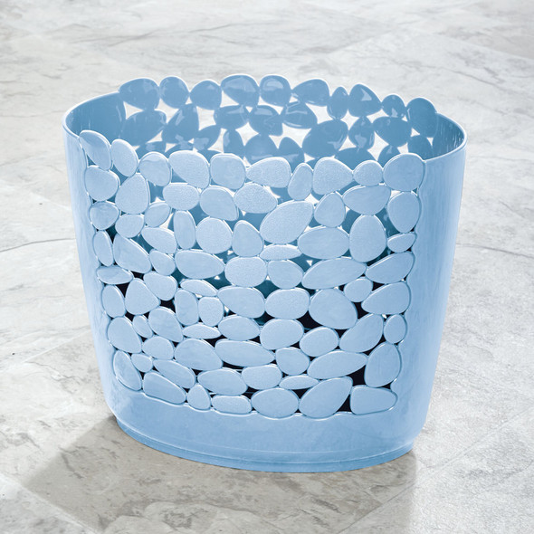 """Small Plastic Trash Can in Pebble Design - 11.8"""" High"""