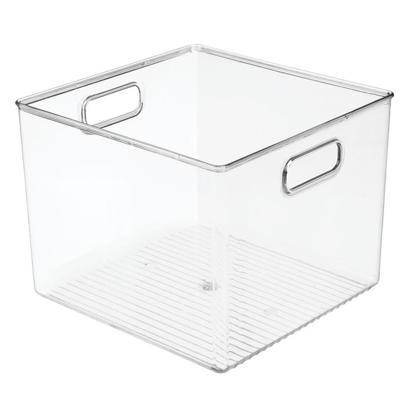 "Plastic Closet Storage Bin with Handles - 10"" x 10"" x 7.75"""