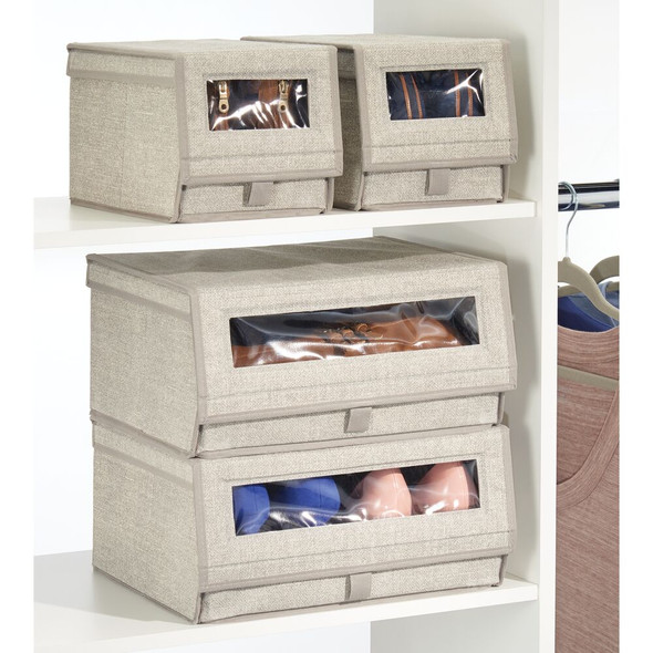 """Large Fabric Closet Shoe Box with Clear Front and Lid - 11.75"""" x 14.5"""" x 7"""""""