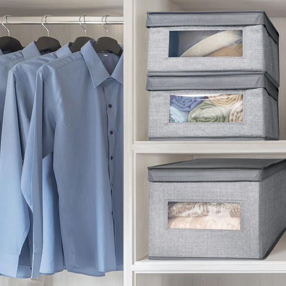 """Large Fabric Closet Storage Box with Clear Front and Lid - 15.5"""" x 11.75"""" x 9.75"""""""