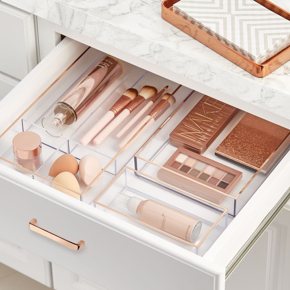"Plastic Cosmetic Drawer Organizer Tray in Clear/Rose Gold - 4"" x 8"" x 2"""