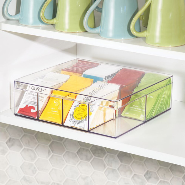 8 Compartment Tea Bag Holder and Condiment Organizer with Lid