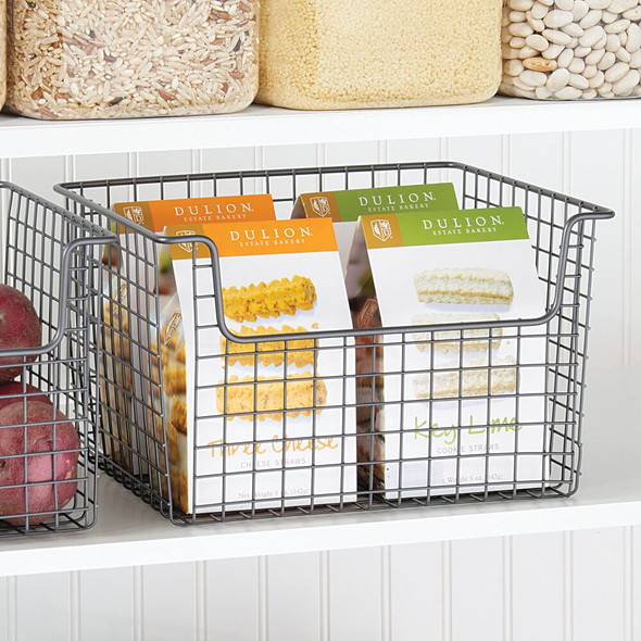 "Metal Open Wire Kitchen Pantry Food Storage Basket - 10"" x 12"" x 7.75"""