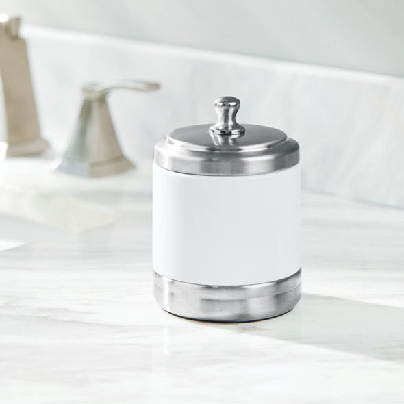 Round Metal Bathroom Vanity Storage Canister Jar