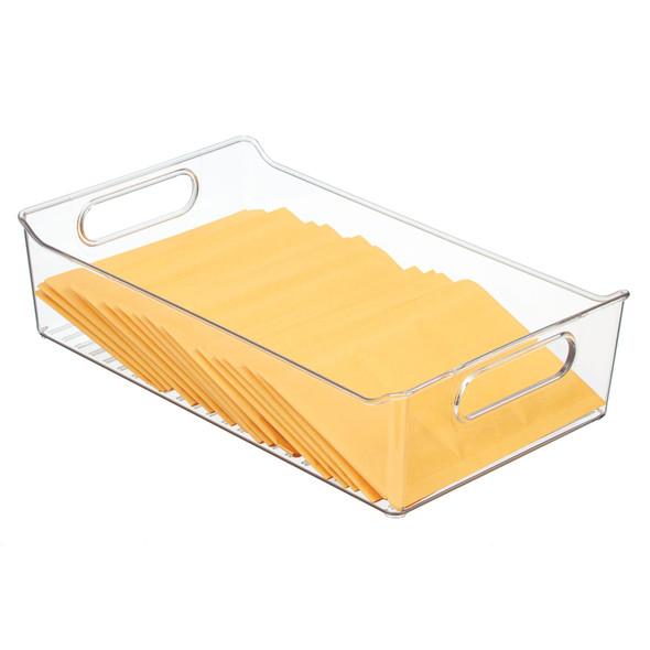 """Plastic Home Office Drawer Organizer With Slotted Handles - 14"""" x 8"""" x 3.5"""""""