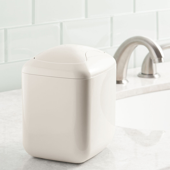Mini Square Bathroom Vanity Trash Can with Swing Lid