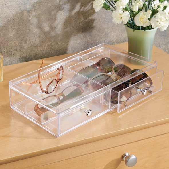 2 Drawer Stacking Eyeglass Storage Organizer Box
