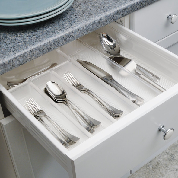 6 Compartment Expandable Plastic Kitchen Drawer Cutlery Tray