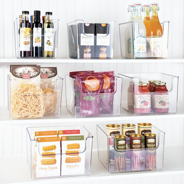 "Wide Kitchen Pantry Food Storage Organizer Bin - 10"" x 12"" x 7.75"""