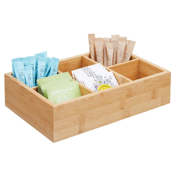Bamboo Tea Bag Holder Condiment Accessory Caddy Tote - 6 Sections