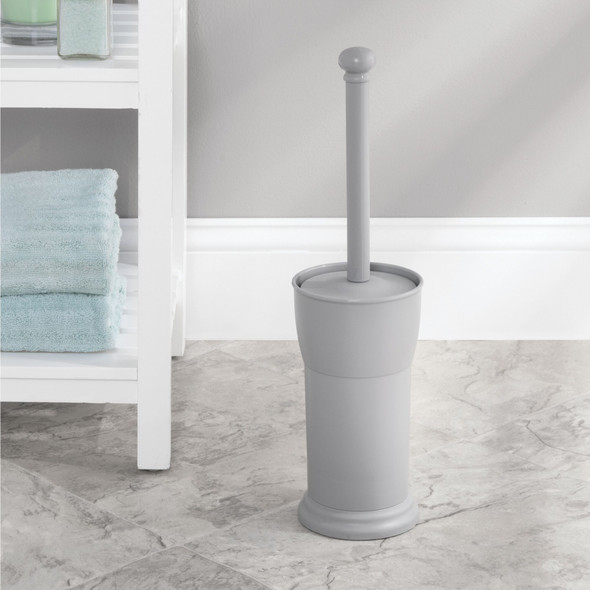 Compact Plastic Toilet Bowl Brush and Holder for Bathroom