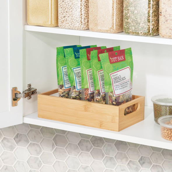 "Bamboo Kitchen Pantry Food Storage Organizer Bin - 11"" x 6"" x 3.5"""