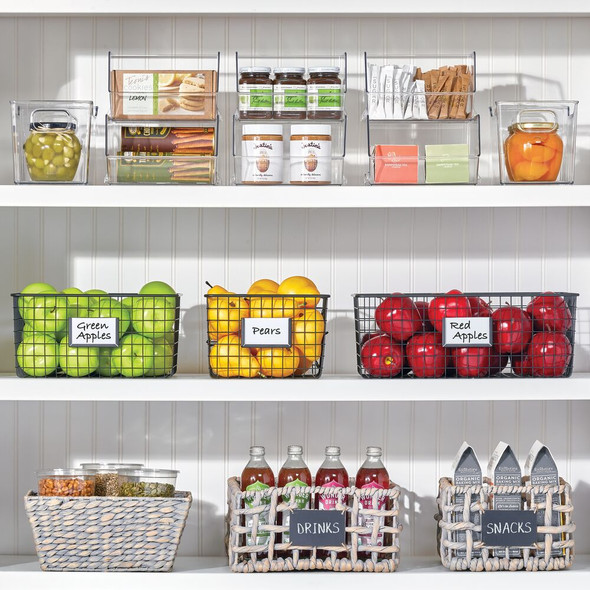 "Plastic Kitchen Pantry Storage Organizer Bin - 10"" x 6"" x 6"""