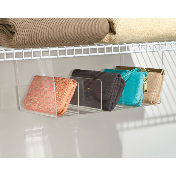 Small Divided Hanging Closet Storage Organizer Tray - Clear