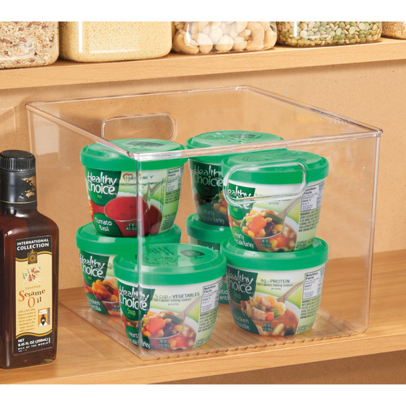 "Plastic Kitchen / Pantry Food Storage Organizer Bin - 12"" x 10"" x 8"""
