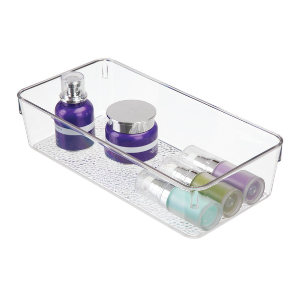 "Plastic Cosmetic Drawer Organizer Storage Tray, Textured Plastic - 12"" x 6"" x 3"""