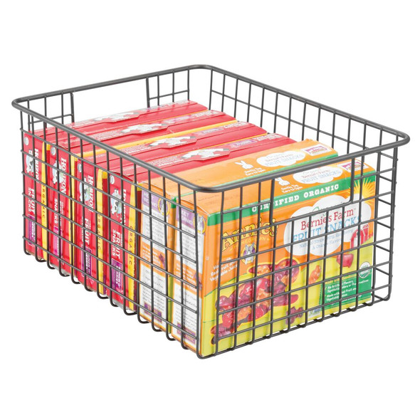 "Medium Metal Wire Pantry Food Storage Basket - 12"" x 9"" x 6"""