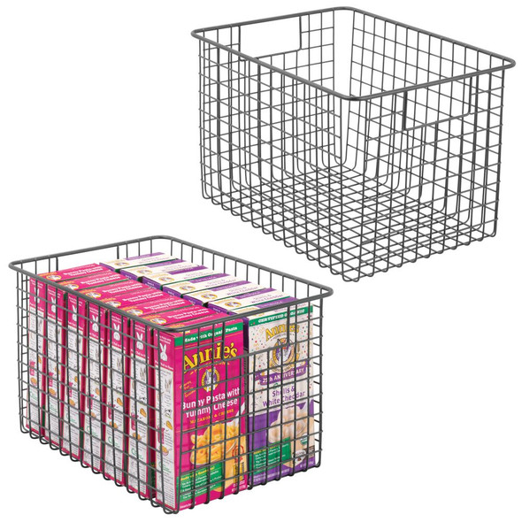 "Extra Deep Metal Wire Kitchen Pantry Food Storage Basket - 12"" x 9"" x 8"""
