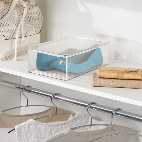 """Plastic Shoe Box with Lid for Closet - 12.75"""" x 7.25"""" x 3.75"""""""