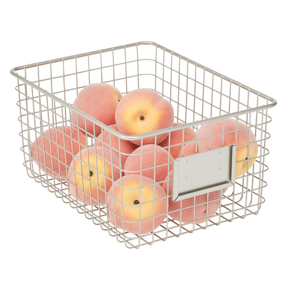 "Metal Wire Pantry Storage Bin with Label Plate - 12"" x 9"" x 6"""