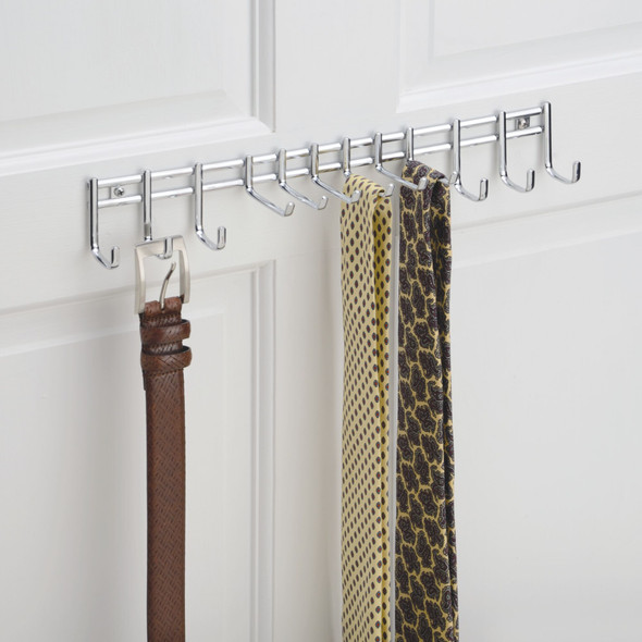 Wall Mount Hanging Tie Rack + Belt Storage Organizer