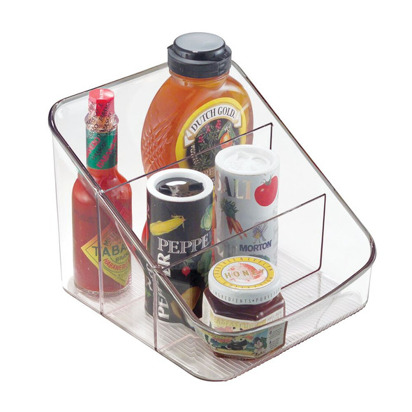 3 Section Plastic Kitchen Food Packet / Condiment Organizer - Clear