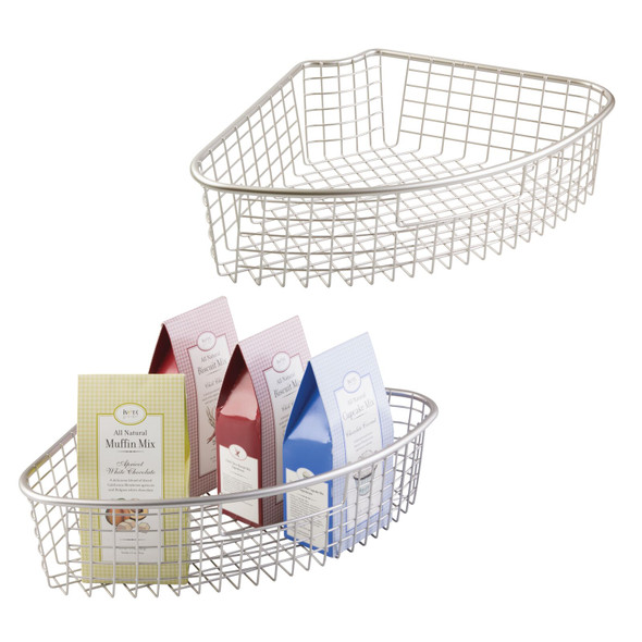 Metal Wire Lazy Susan Kitchen Food Storage Basket  - 1/4 Wedge