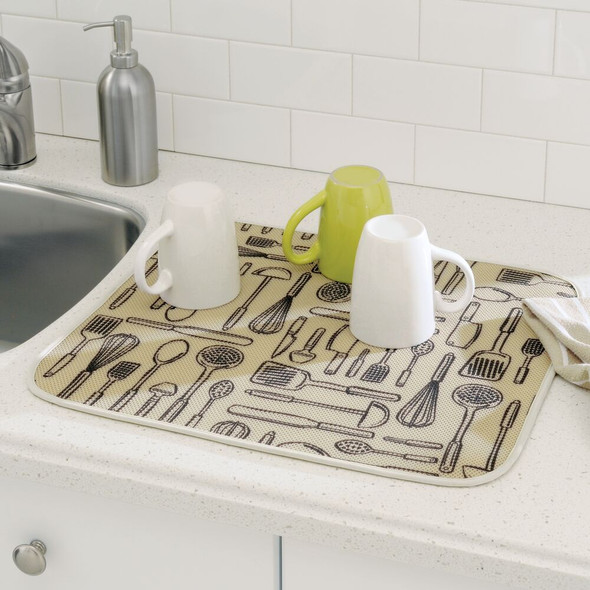 Microfiber Kitchen Countertop Drying Mat Set, Pack of 2 - Wheat/Ivory