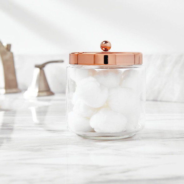 Round Glass Bathroom Vanity Storage Canister Jar