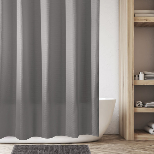 """Stall Size Waffle Weave Shower Curtain, 54"""" x 78"""""""
