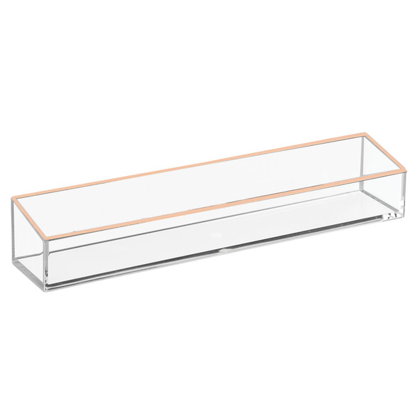 "Plastic Cosmetic + Nail Polish Storage Tray in Clear/Rose Gold - 2"" x 2.4"" x 12"""