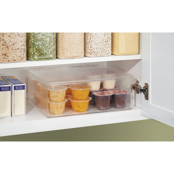 "Plastic Stackable Kitchen Pantry Food Storage Bin - 11"" x 13.4"" x 5"""