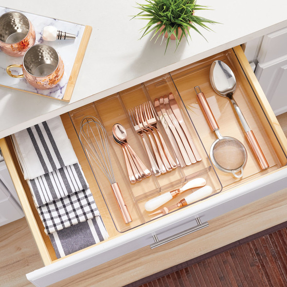 Expandable Plastic Kitchen Drawer Storage Cutlery Tray - Clear