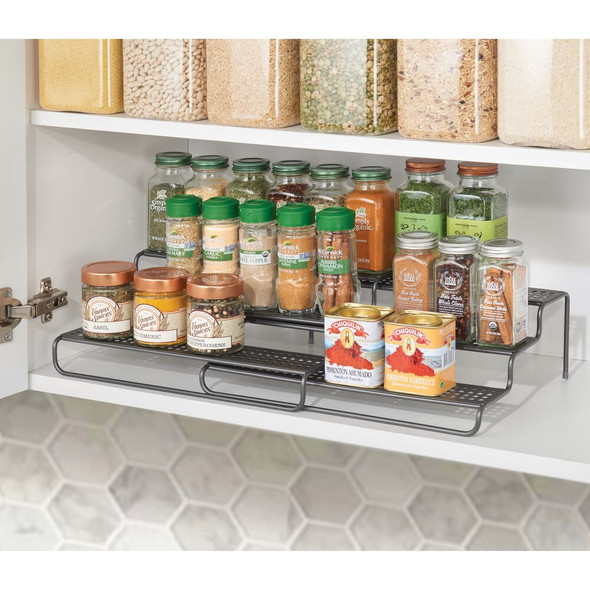3 Tier Metal Expandable Kitchen Spice Rack Organizer
