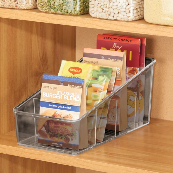4 Section Plastic Kitchen Food Packet + Condiment Organizer Bin