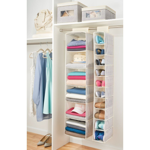 Fabric Closet Hanging Shoe Storage Organizer - 10 Shelf