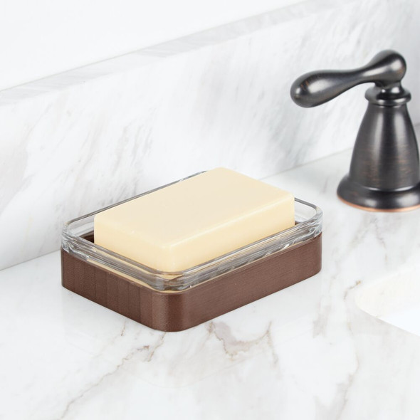 Glass + Bamboo Kitchen Sink Tray and Soap Dish Holder